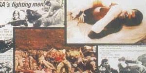Fragmento de un material propagandístico de la SWAPO, con fotos de los muertos de Cassinga