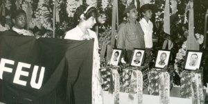 Velorio de los restos de internacionalistas caídos en Angola y otras partes de África, en 1989