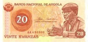Uno de los primeros billetes de kwanza emitidos por el gobierno de Agostinho Neto